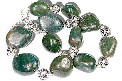 Design 11935: green bloodstone chunky necklaces