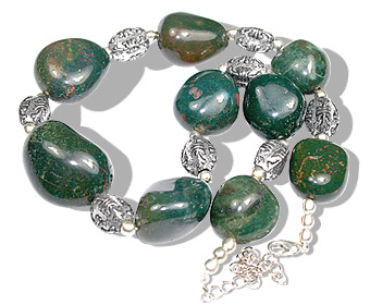 Design 11940: green,red bloodstone chunky, ethnic necklaces