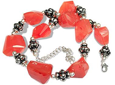 Design 11941: orange carnelian chunky, ethnic, tumbled necklaces