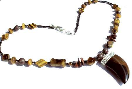 Design 12059: brown,multi-color tiger eye claw, halloween, mens, pendant necklaces