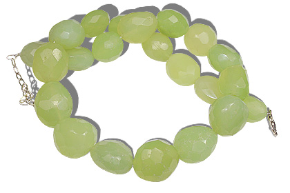 Design 12114: green prehnite chunky, tumbled necklaces