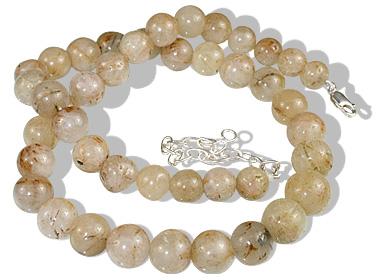 Design 12185: white golden rutile necklaces