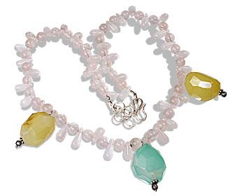 Design 12350: green,pink,yellow rose quartz necklaces