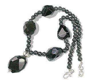 Design 12352: black,gray jasper necklaces