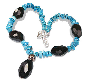 Design 12355: black,blue turquoise chipped, chunky necklaces