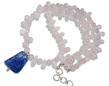 Design 12356: blue,pink rose quartz necklaces