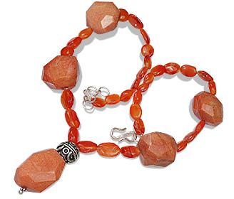 Design 12357: orange carnelian chunky necklaces