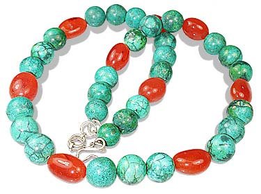Design 12358: green,orange turquoise chunky necklaces