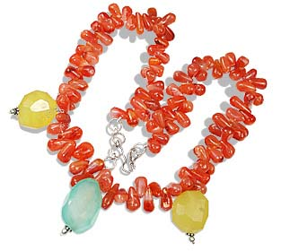 Design 12361: green,orange,yellow carnelian necklaces