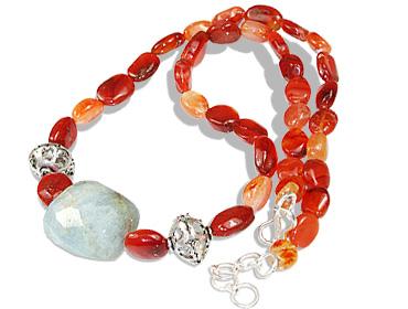 Design 12362: green,orange carnelian necklaces
