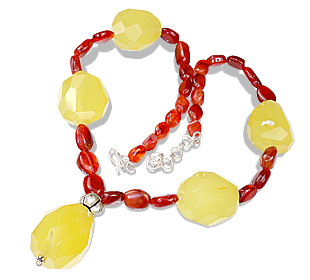 Design 12373: orange,yellow carnelian chunky necklaces