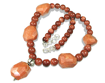 Design 12374: orange goldstone chunky necklaces