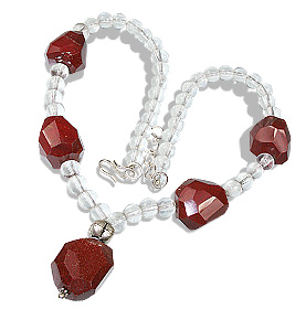 Design 12375: red,white crystal chunky necklaces