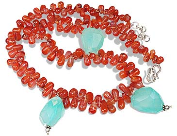 Design 12378: green,orange carnelian briolettes necklaces