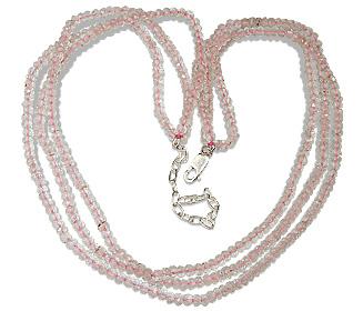 Design 12495: pink rose quartz multistrand necklaces
