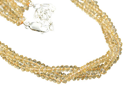 Design 12497: yellow citrine multistrand necklaces