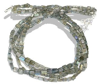 Design 12503: blue,green,gray labradorite multistrand necklaces
