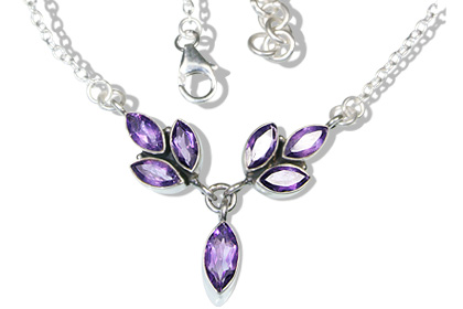 Design 12517: purple amethyst leaf necklaces