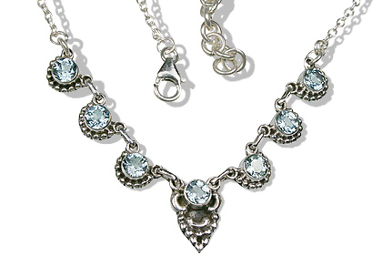 Design 12523: blue blue topaz engagement, ethnic, wedding necklaces