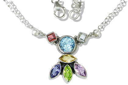 Design 12525: multi-color multi-stone contemporary necklaces