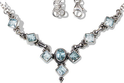 Design 12529: blue blue topaz ethnic, wedding necklaces