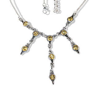 Design 12594: yellow citrine wedding necklaces