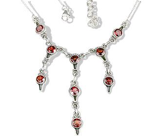 Design 12595: red garnet wedding necklaces