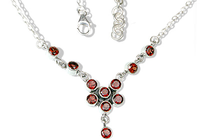 Design 12596: red garnet necklaces