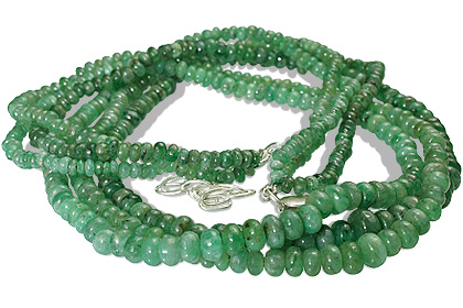 Design 12602: green emerald multistrand necklaces