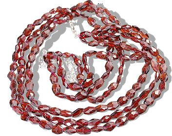 Design 12608: red garnet multistrand necklaces