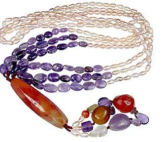 Design 12612: orange,purple,white multi-stone necklaces