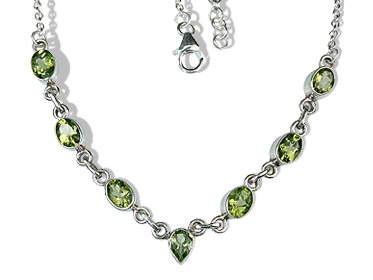 Design 12632: green peridot contemporary necklaces