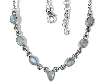 Design 12635: white moonstone contemporary necklaces