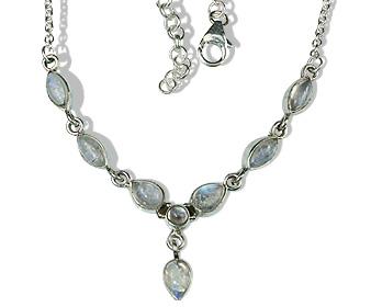Design 12640: white moonstone contemporary necklaces