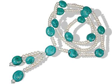 Design 12642: green,white pearl brides-maids necklaces