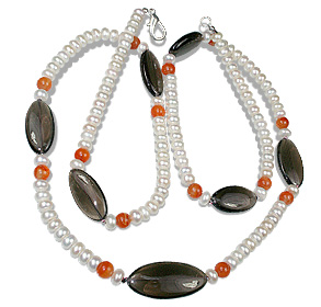 Design 12643: brown,orange,white pearl brides-maids necklaces