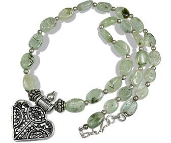 Design 12645: green prehnite pendant necklaces