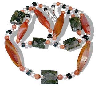 Design 12646: orange,multi-color carnelian chunky necklaces