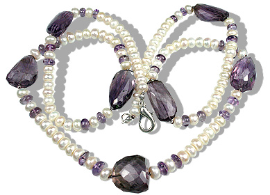 Design 12647: purple,white pearl brides-maids necklaces