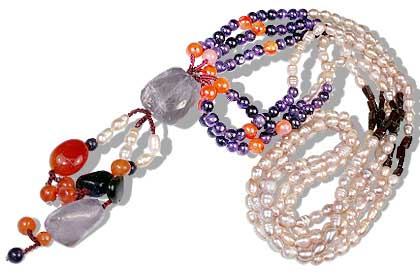 Design 12650: orange,multi-color multi-stone multistrand necklaces