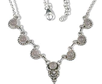 Design 12657: pink rose quartz ethnic necklaces