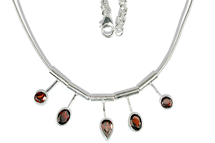 Design 12675: red garnet necklaces