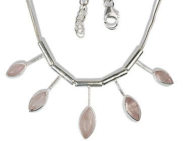 Design 12681: pink rose quartz necklaces