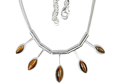 Design 12684: brown tiger eye necklaces
