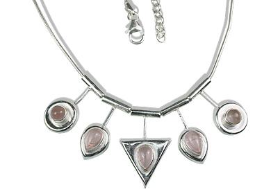 Design 12688: pink rose quartz necklaces