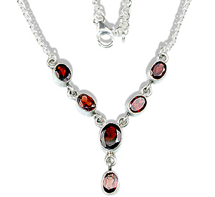 Design 12699: red garnet necklaces