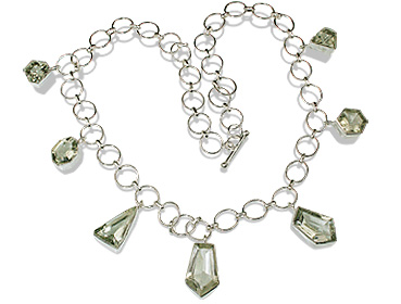 Design 12714: green green amethyst choker necklaces