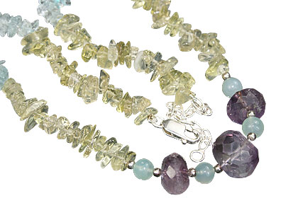Design 12716: blue,purple,yellow lemon quartz chipped necklaces