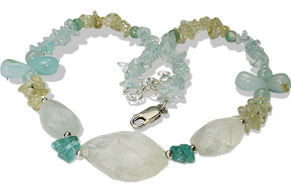 Design 12718: green,yellow aquamarine chipped necklaces