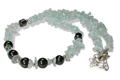 Design 12720: blue,multi-color aquamarine chipped necklaces
